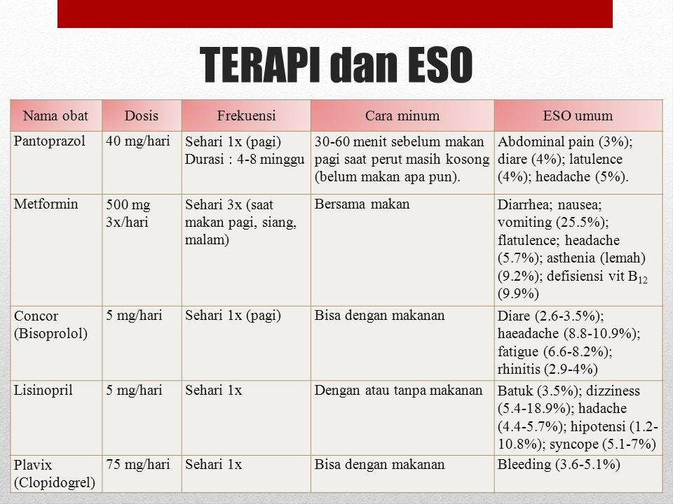 TERAPI dan ESO Nama obat Dosis Frekuensi Cara minum ESO umum