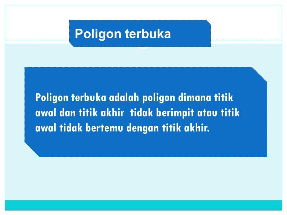 Poligon terbuka Poligon terbuka adalah poligon dimana titik awal dan titik akhir tidak berimpit atau titik awal tidak bertemu dengan titik akhir.