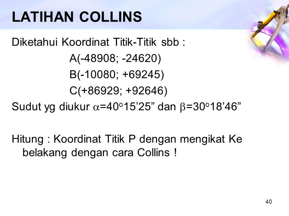 LATIHAN COLLINS Diketahui Koordinat Titik-Titik sbb :