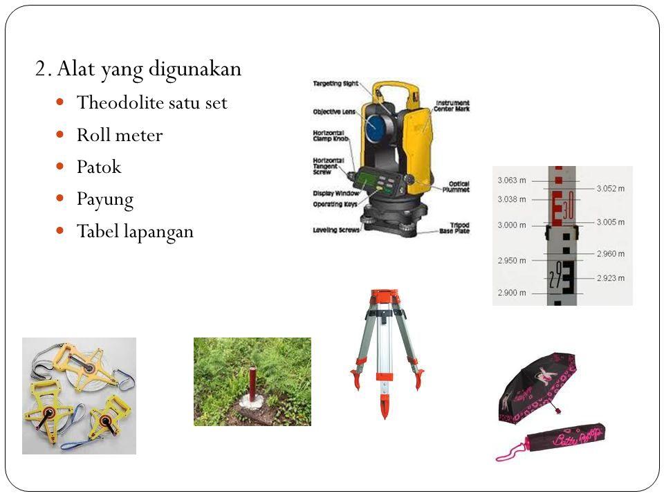 2. Alat yang digunakan Theodolite satu set Roll meter Patok Payung