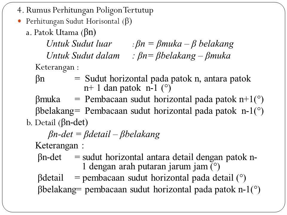 4. Rumus Perhitungan Poligon Tertutup a. Patok Utama (βn)