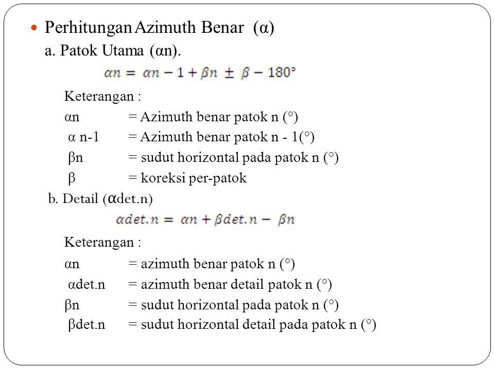Perhitungan Azimuth Benar (α)