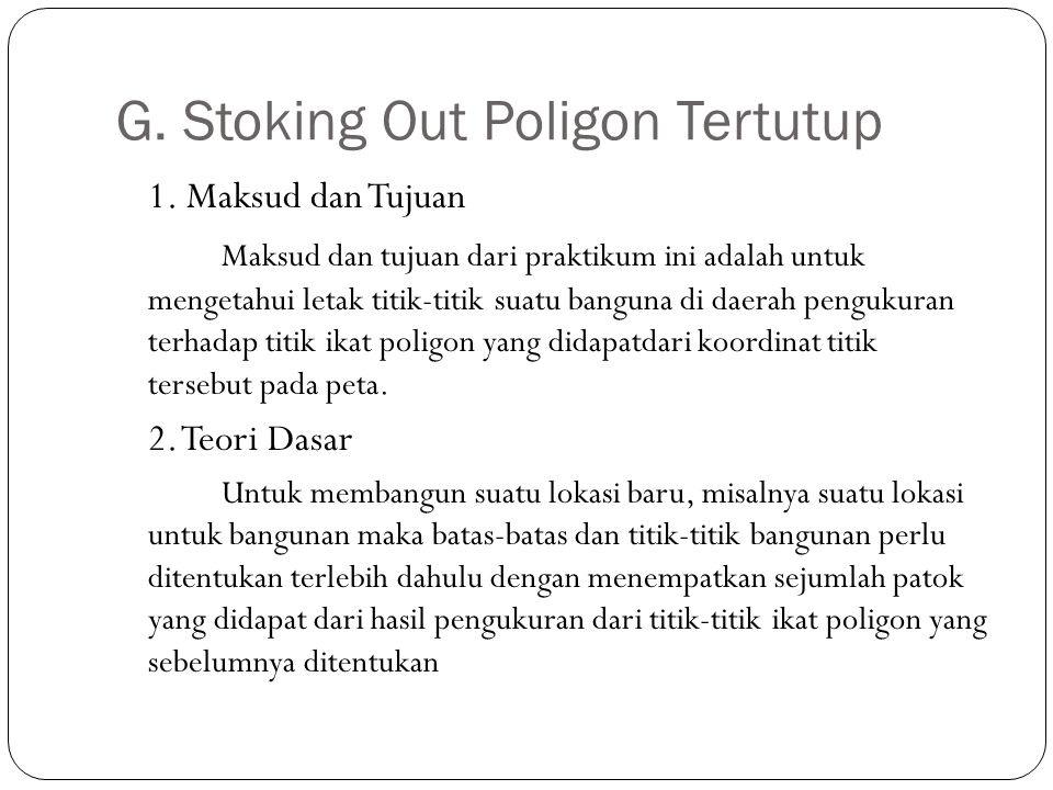G. Stoking Out Poligon Tertutup