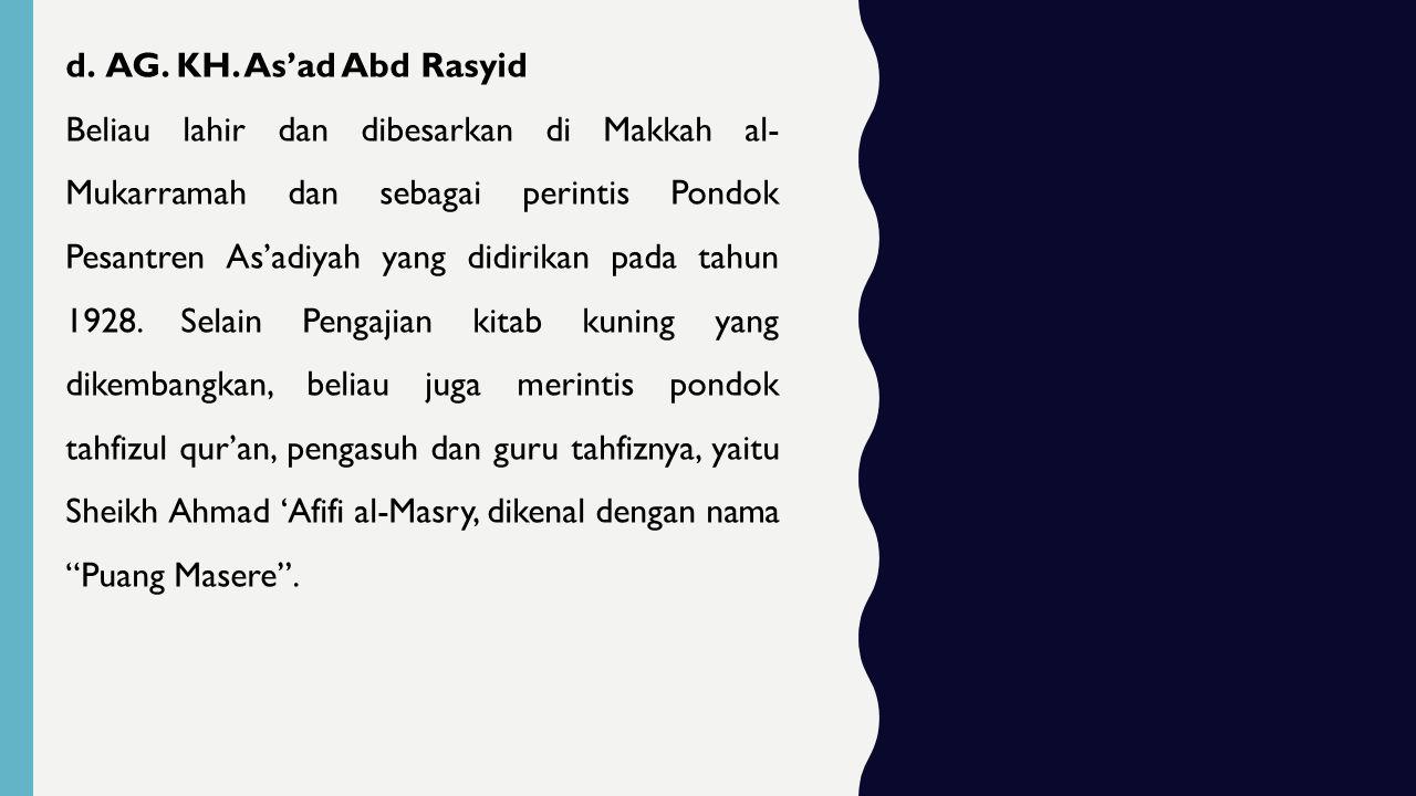 AG. KH. As'ad Abd Rasyid