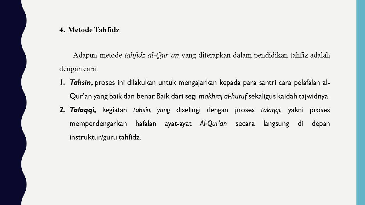Metode Tahfidz Adapun metode tahfidz al-Qur'an yang diterapkan dalam pendidikan tahfiz adalah dengan cara: