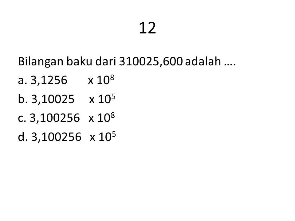 12 Bilangan baku dari 310025,600 adalah …. a. 3,1256 x 108 b.