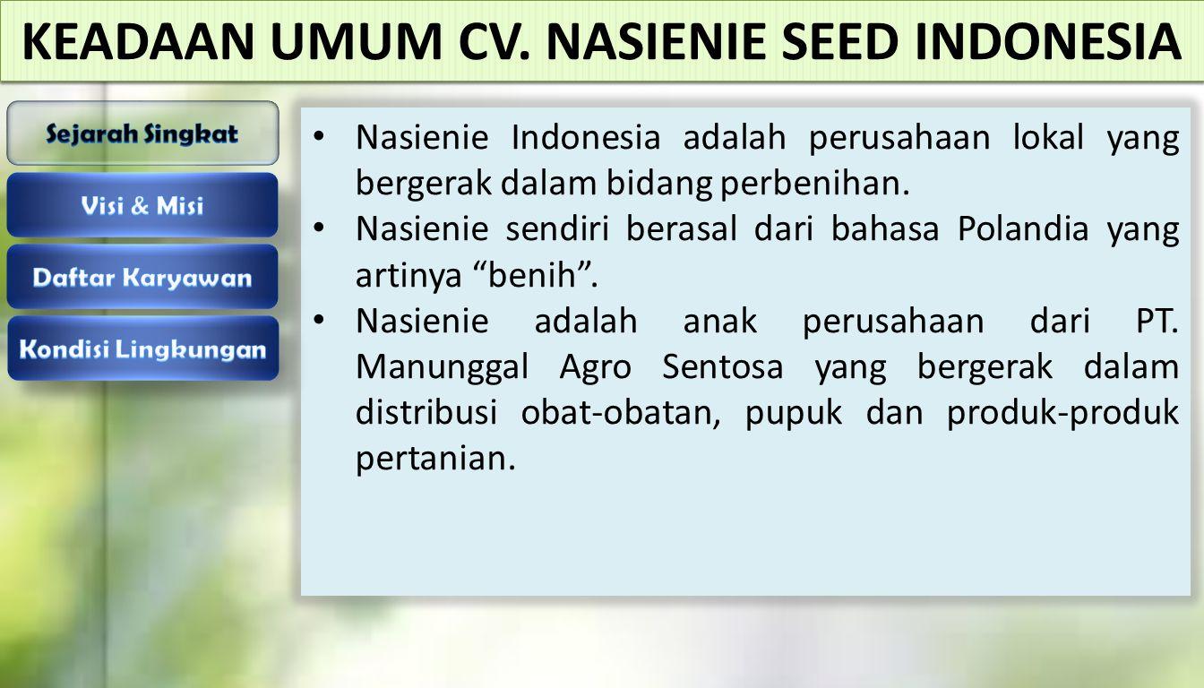 KEADAAN UMUM CV. NASIENIE SEED INDONESIA