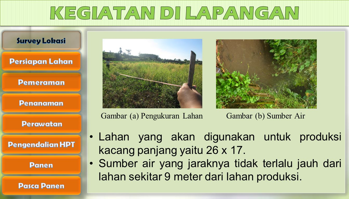 KEGIATAN DI LAPANGAN Survey Lokasi. Gambar (a) Pengukuran Lahan Gambar (b) Sumber Air. Persiapan Lahan.