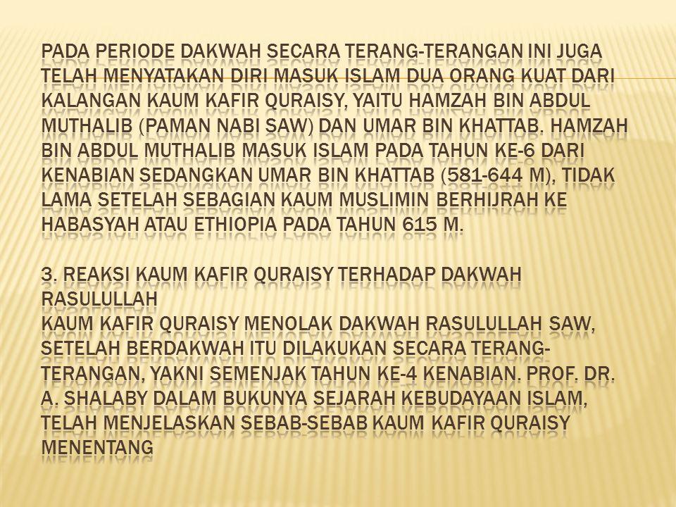 Pada periode dakwah secara terang-terangan ini juga telah menyatakan diri masuk Islam dua orang kuat dari kalangan kaum kafir Quraisy, yaitu Hamzah bin Abdul Muthalib (paman Nabi SAW) dan Umar bin Khattab.
