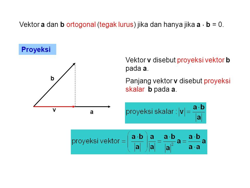 Vektor a dan b ortogonal (tegak lurus) jika dan hanya jika a  b = 0.