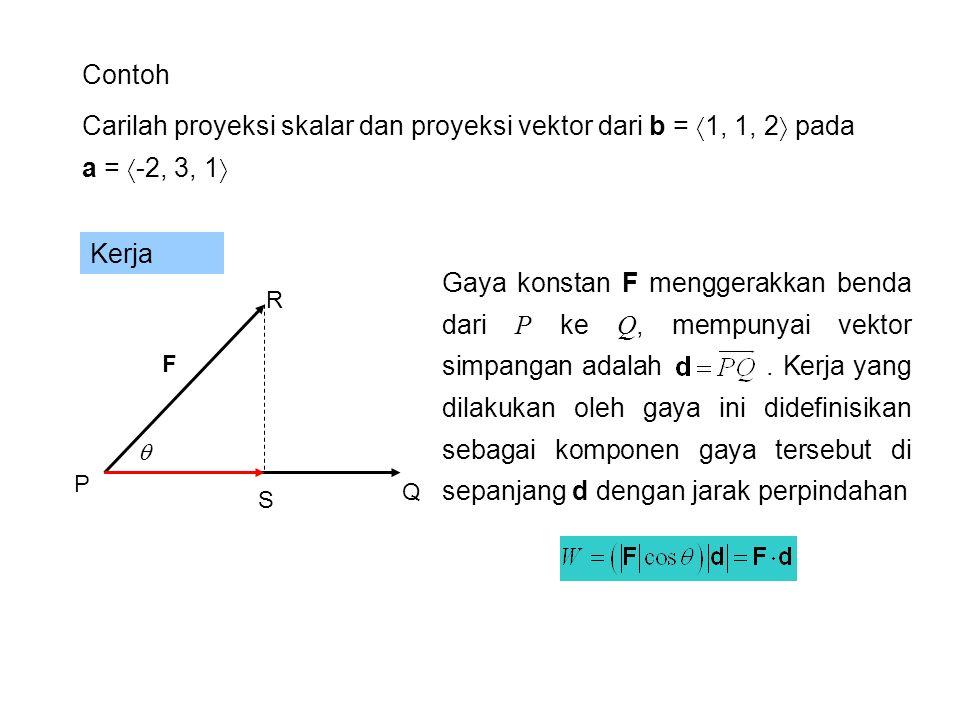 Contoh Carilah proyeksi skalar dan proyeksi vektor dari b = 1, 1, 2 pada a = -2, 3, 1 Kerja.