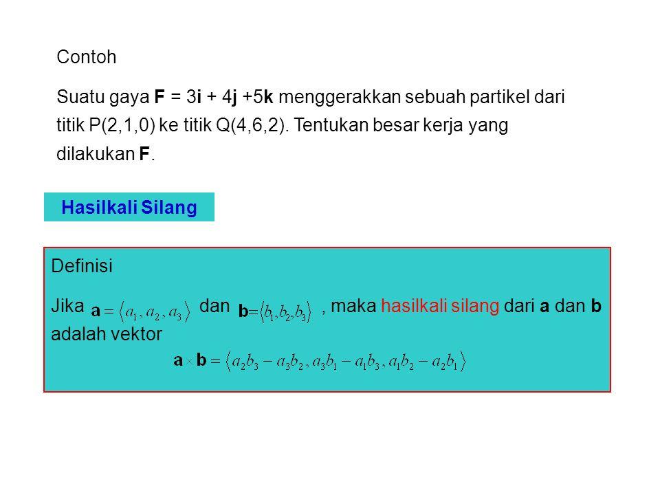 Contoh Suatu gaya F = 3i + 4j +5k menggerakkan sebuah partikel dari titik P(2,1,0) ke titik Q(4,6,2). Tentukan besar kerja yang dilakukan F.