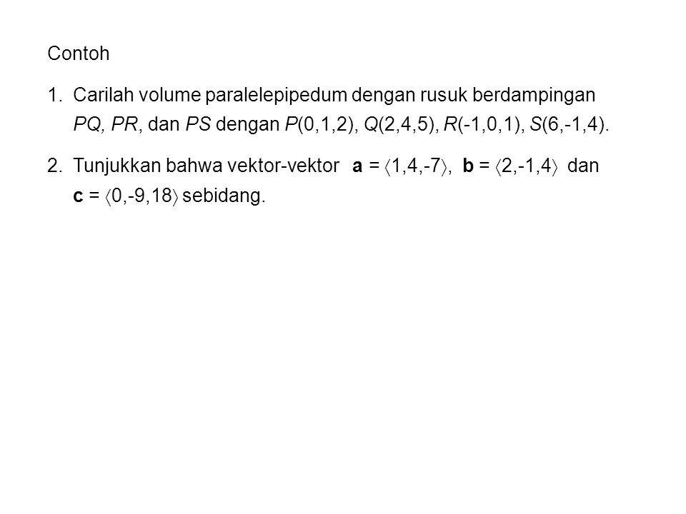 Contoh Carilah volume paralelepipedum dengan rusuk berdampingan PQ, PR, dan PS dengan P(0,1,2), Q(2,4,5), R(-1,0,1), S(6,-1,4).