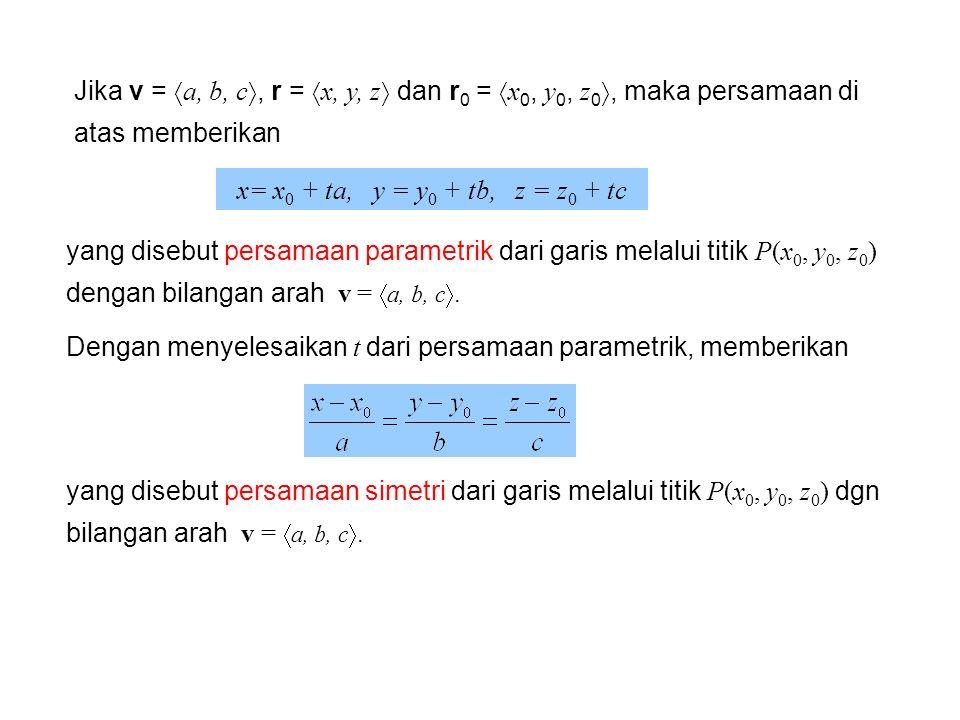 Jika v = a, b, c, r = x, y, z dan r0 = x0, y0, z0, maka persamaan di atas memberikan