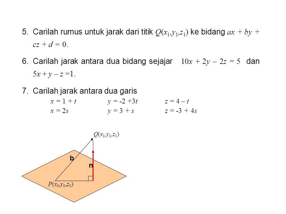 Carilah jarak antara dua garis