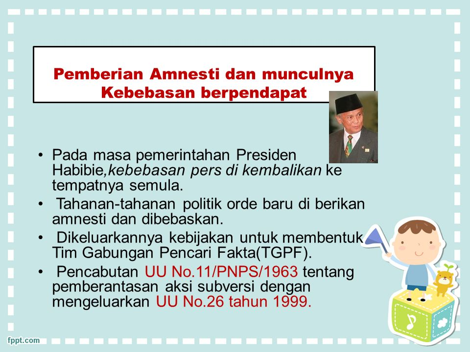 Pemberian Amnesti dan munculnya Kebebasan berpendapat