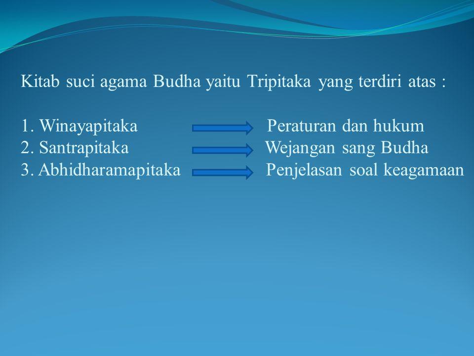 Kitab suci agama Budha yaitu Tripitaka yang terdiri atas : 1