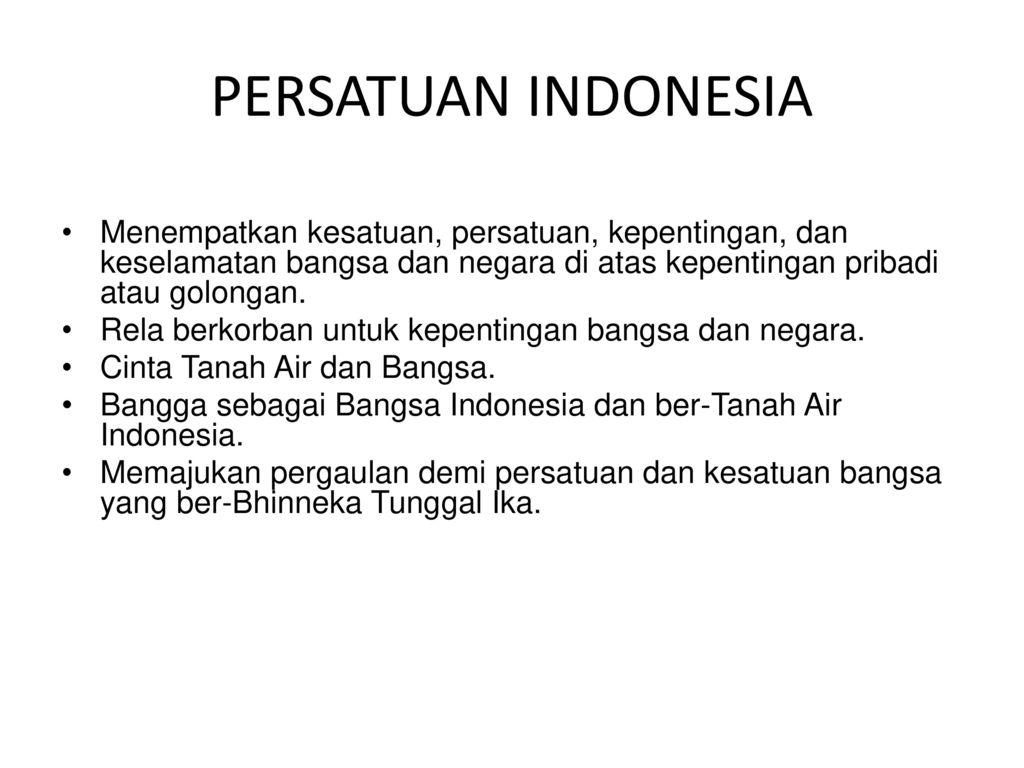 33 PERSATUAN INDONESIA Menempatkan