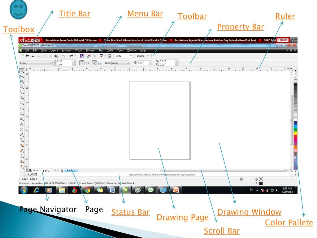 Title Bar Menu Bar. Toolbar. Ruler. Property Bar. Toolbox. Page Navigator. Page. Status Bar.