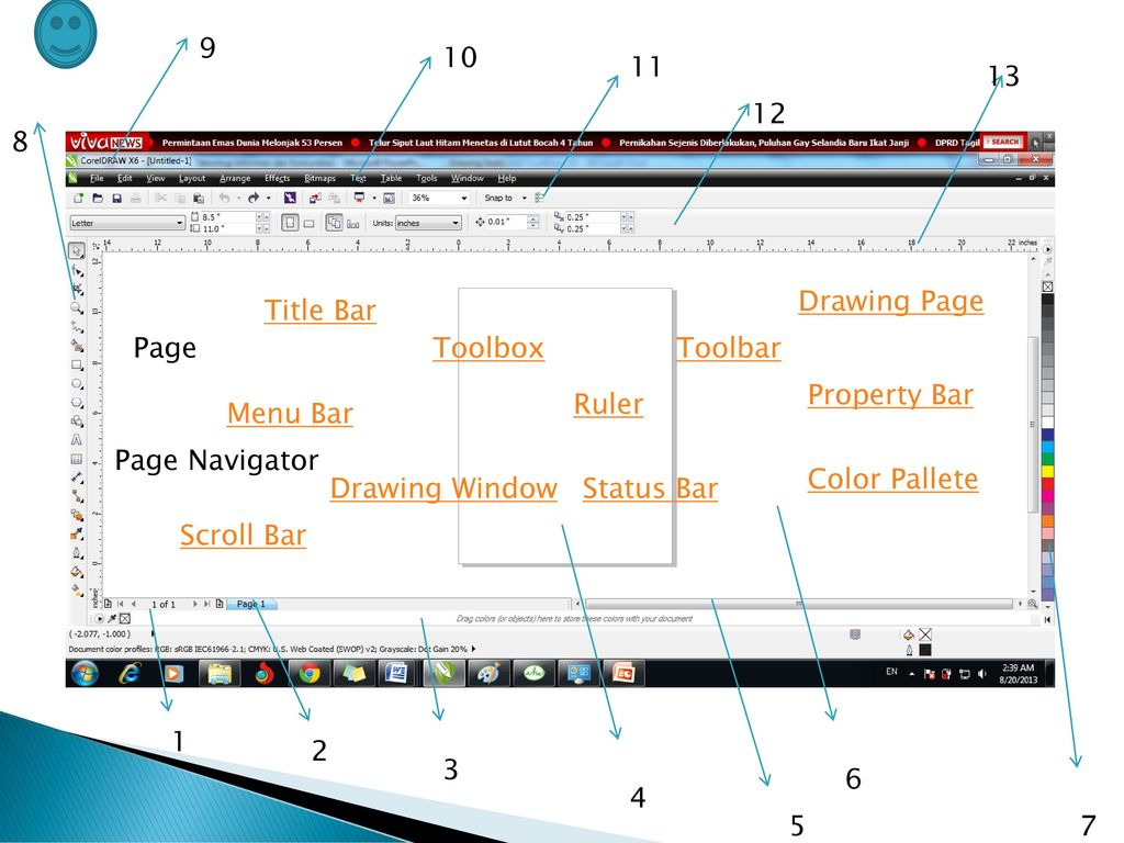 Drawing Page. Title Bar. Page. Toolbox. Toolbar. Property Bar. Ruler.