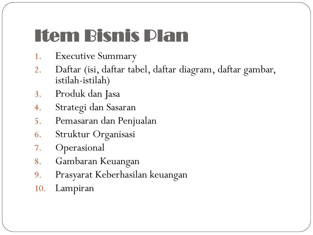 Item Bisnis Plan Executive Summary