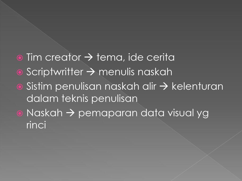 Tim creator  tema, ide cerita