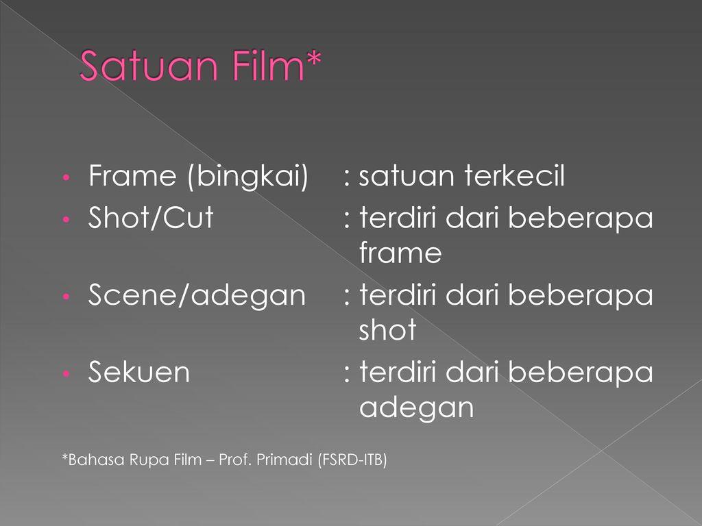 Satuan Film* Frame (bingkai) : satuan terkecil