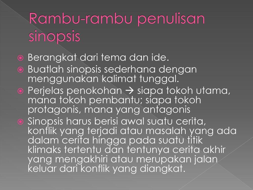 Rambu-rambu penulisan sinopsis