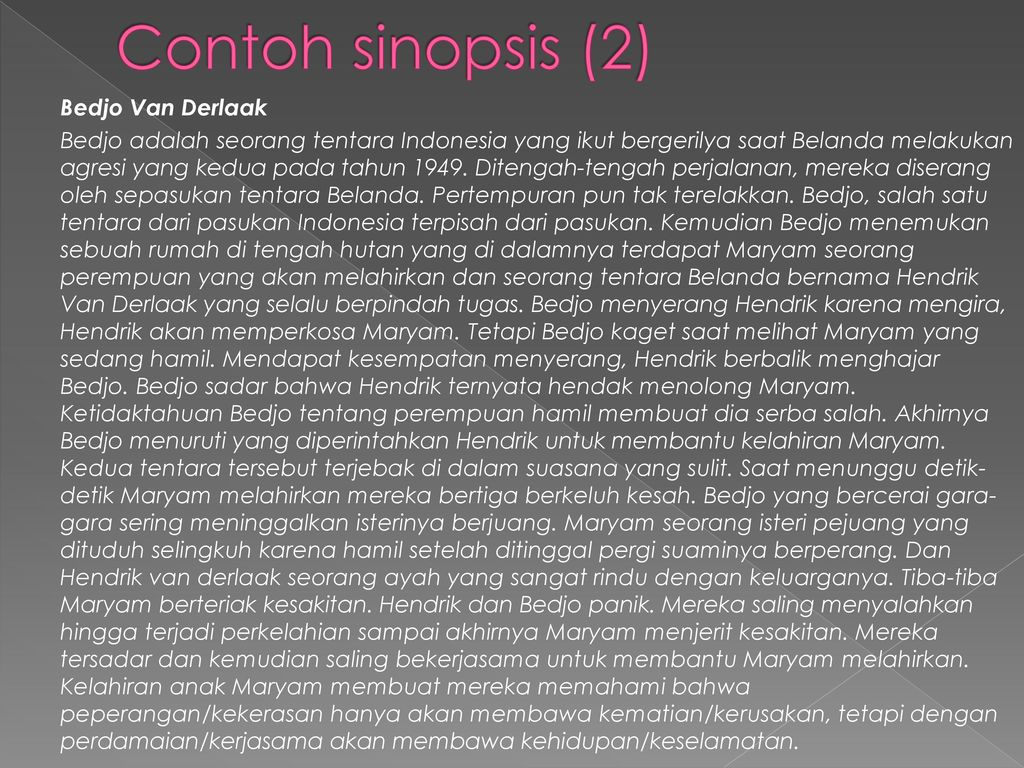 Contoh sinopsis (2) Bedjo Van Derlaak