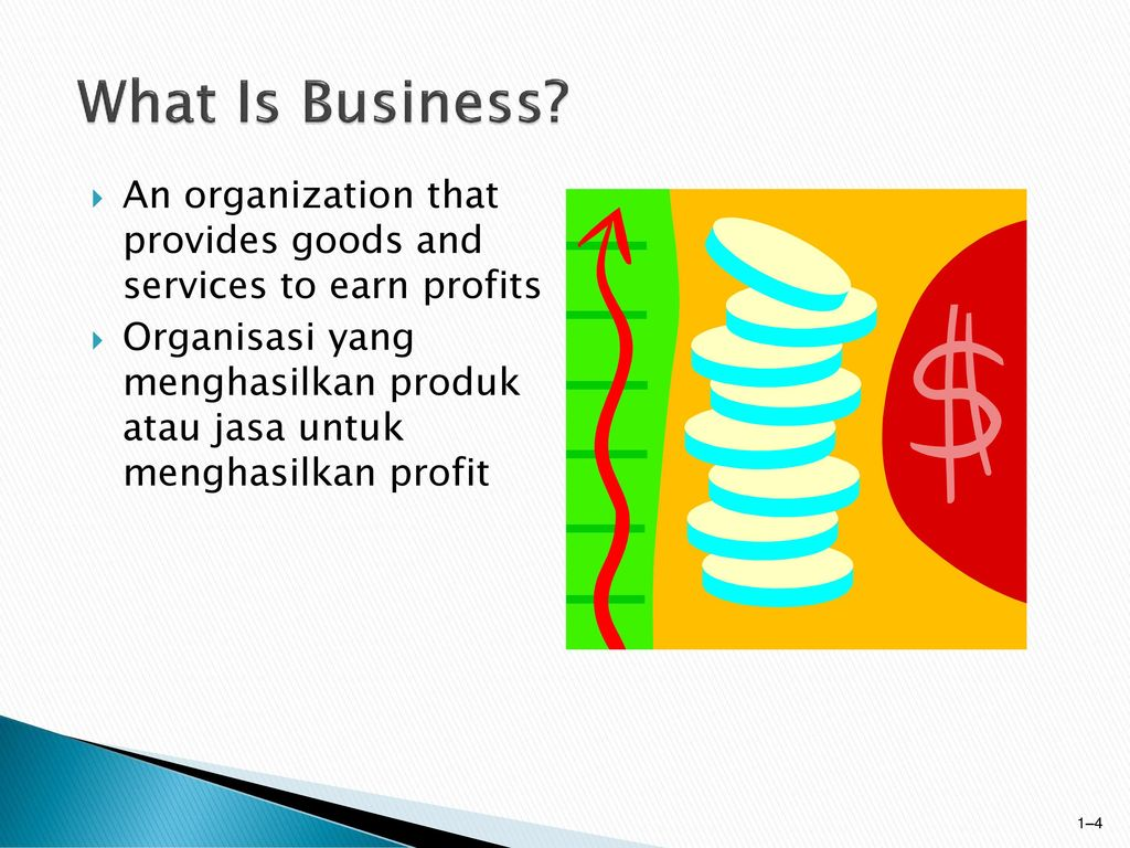 What Is Business An organization that provides goods and services to earn profits.