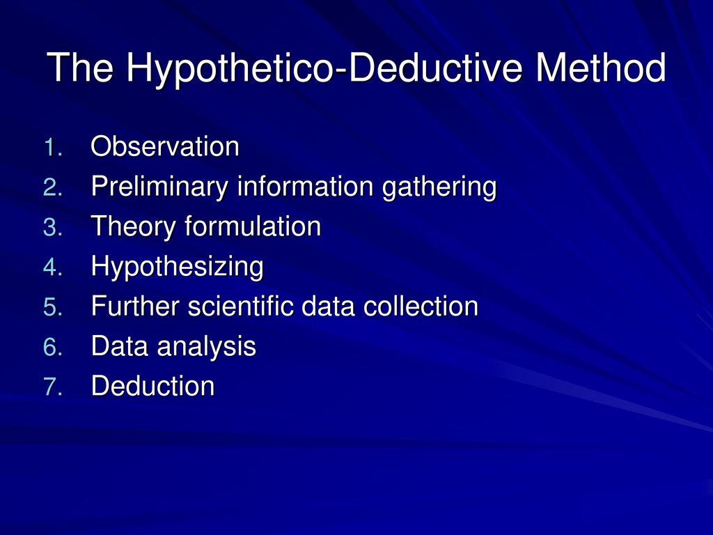 hypothetico deduction method
