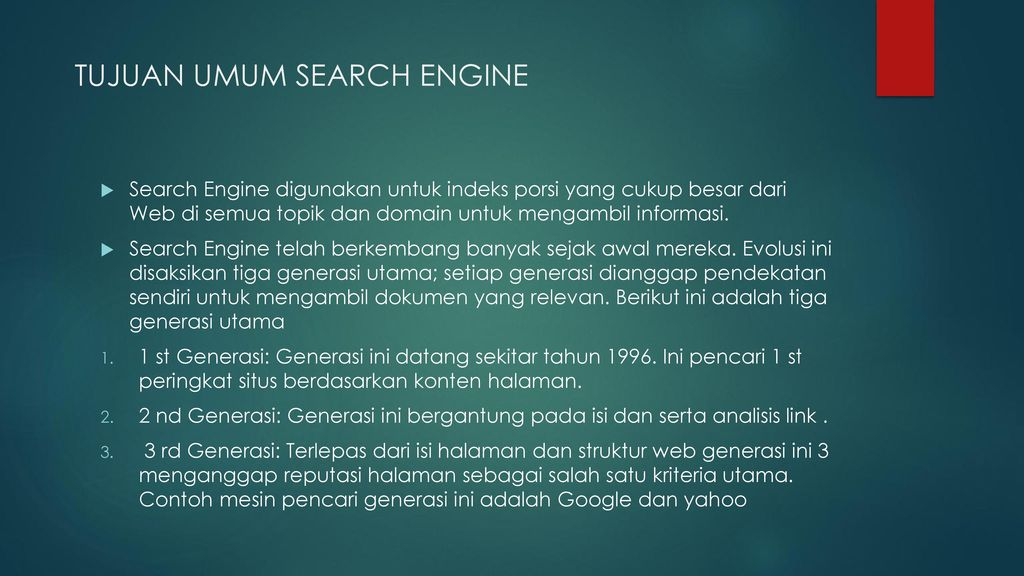 TUJUAN UMUM SEARCH ENGINE