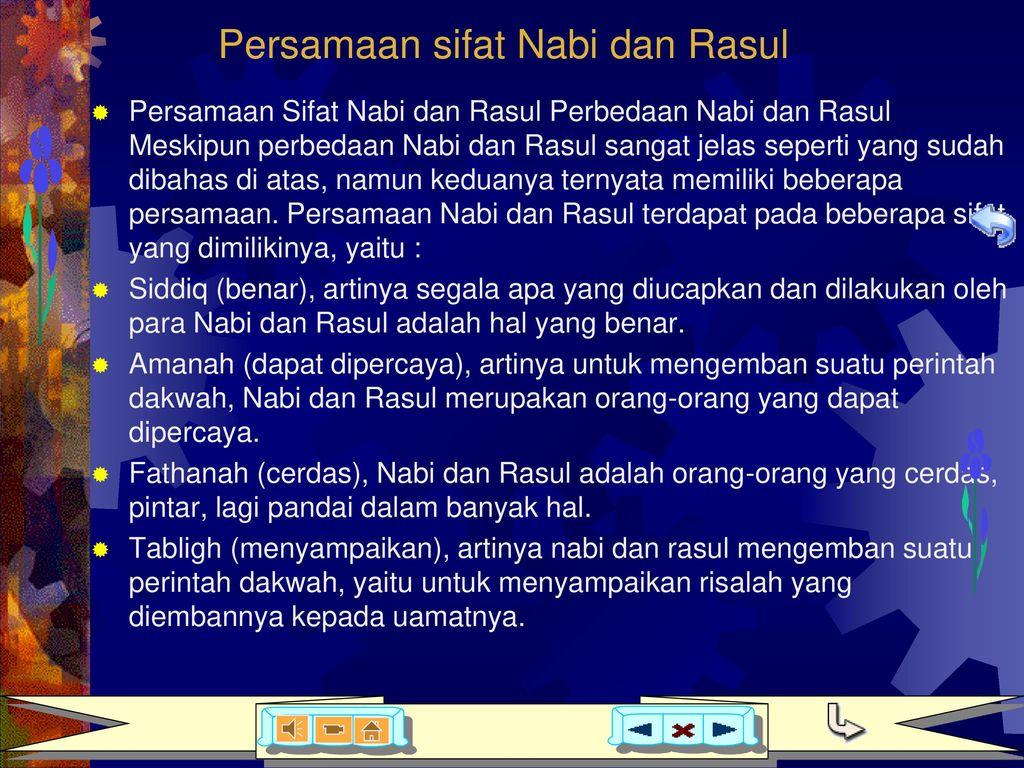 Persamaan sifat Nabi dan Rasul