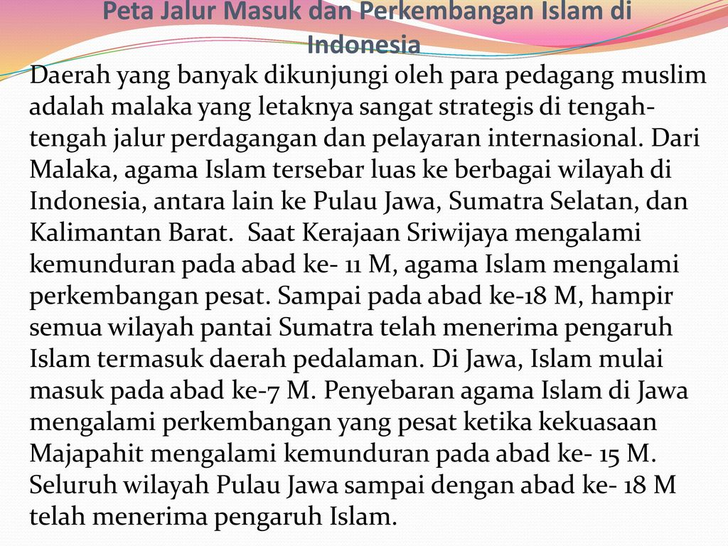 Peta Jalur Masuk dan Perkembangan Islam di Indonesia