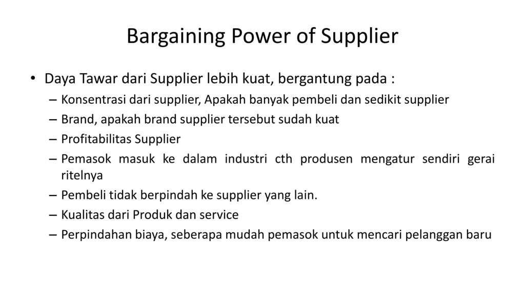 the bargaining power of supplier of