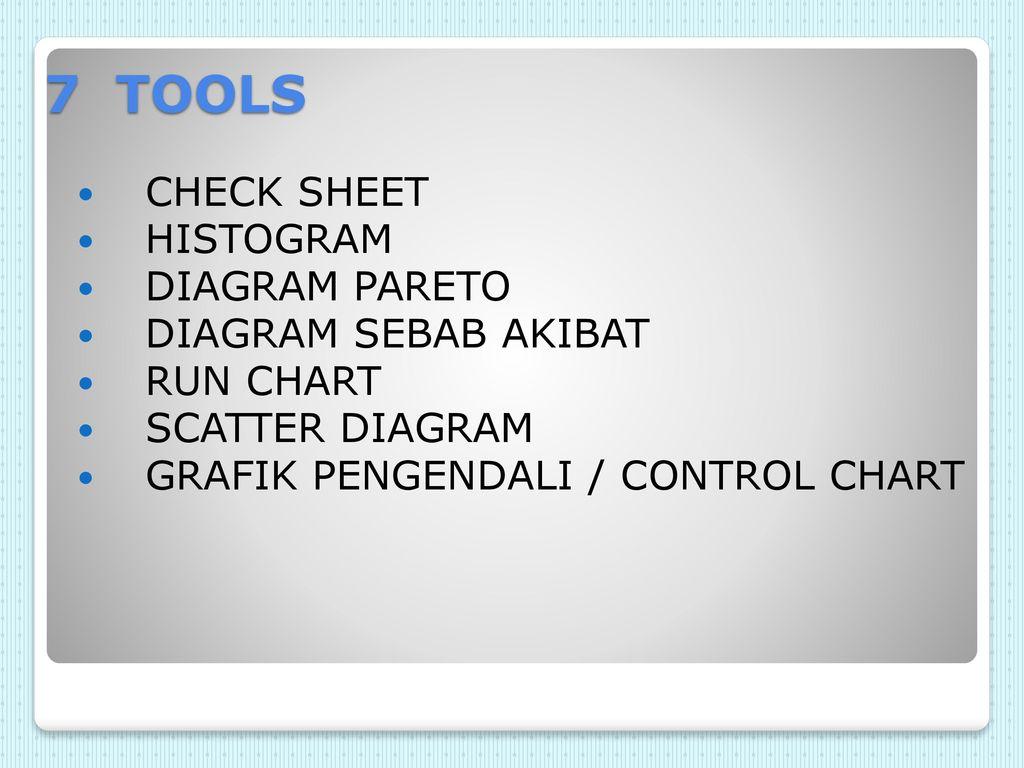 Seven tools dalam pengendalian kualitas ppt download 7 tools check sheet histogram diagram pareto diagram sebab akibat ccuart Gallery