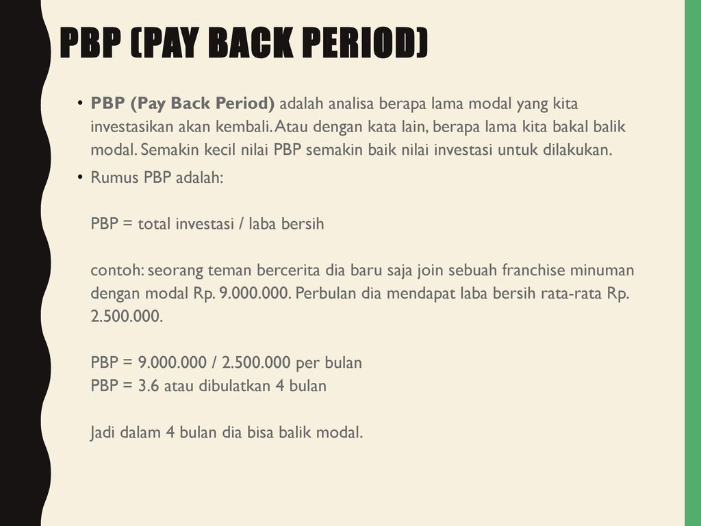 PBP (Pay Back Period)