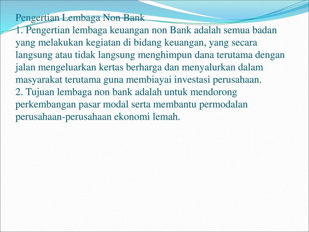 Pengertian Lembaga Non Bank 1