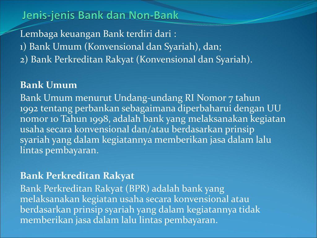 Jenis-jenis Bank dan Non-Bank