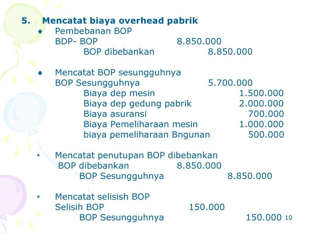 Mencatat biaya overhead pabrik