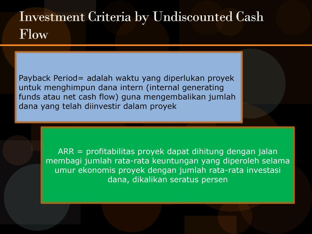 Investment Criteria by Undiscounted Cash Flow
