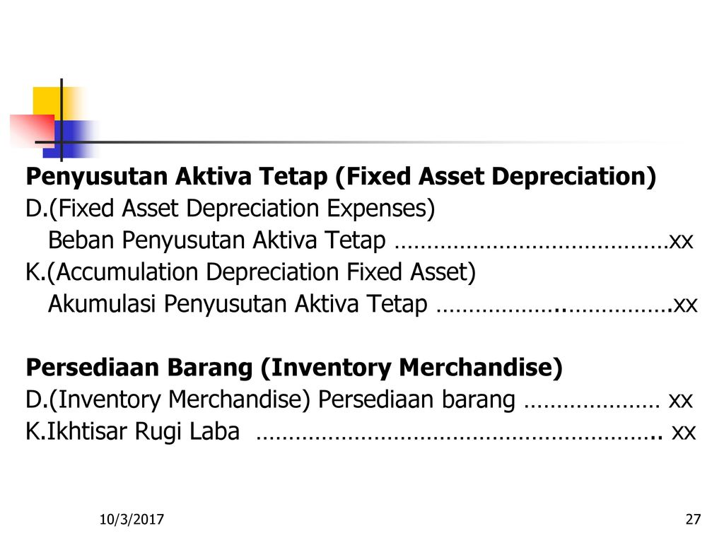 Penyusutan Aktiva Tetap (Fixed Asset Depreciation)