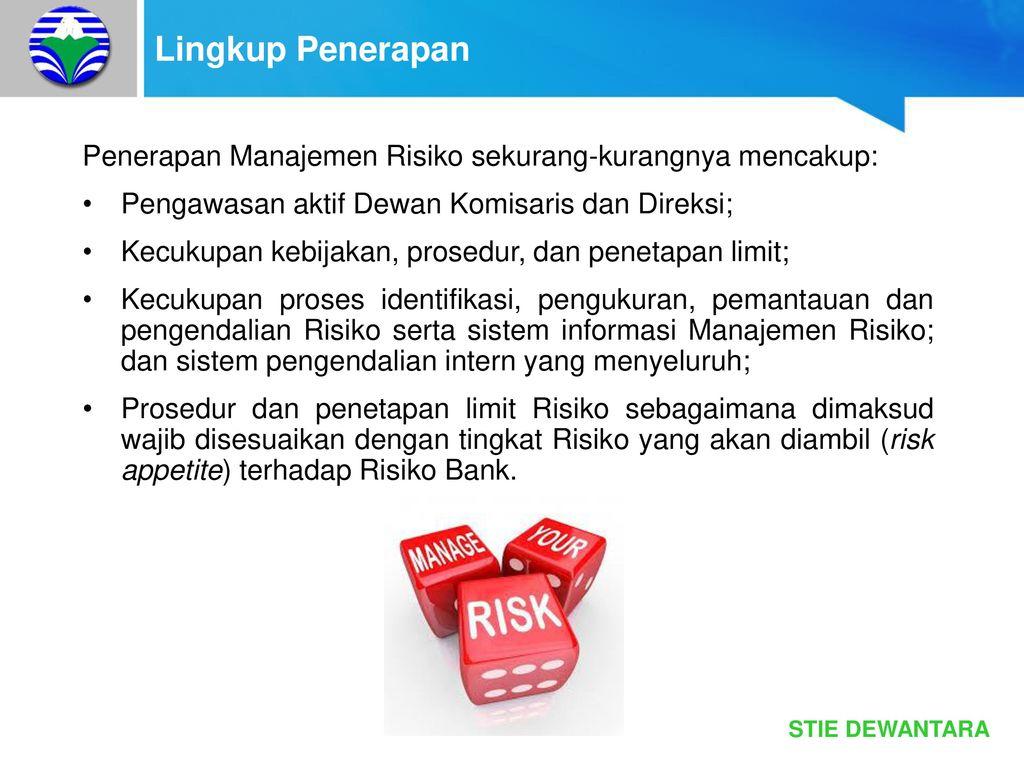 penerapan manajemen risiko pada bank