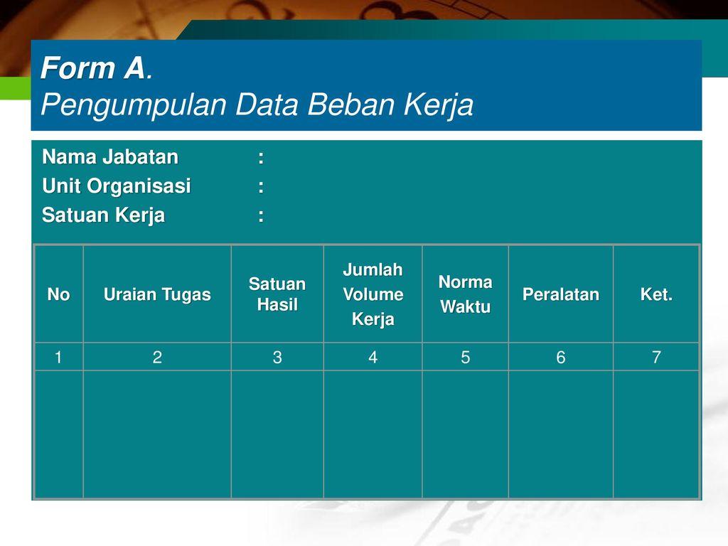 Form A. Pengumpulan Data Beban Kerja