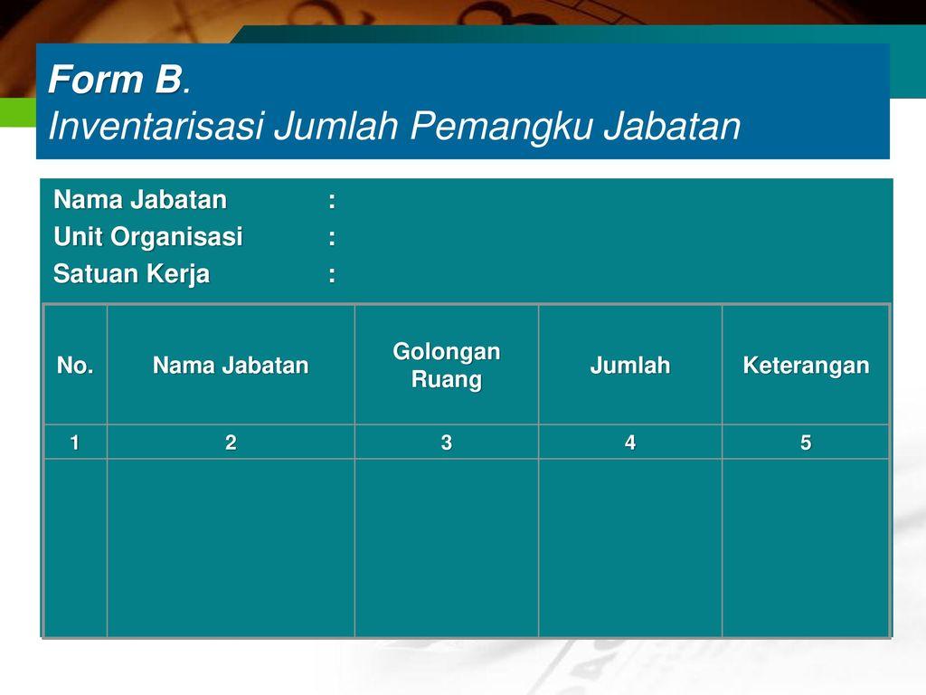 Form B. Inventarisasi Jumlah Pemangku Jabatan