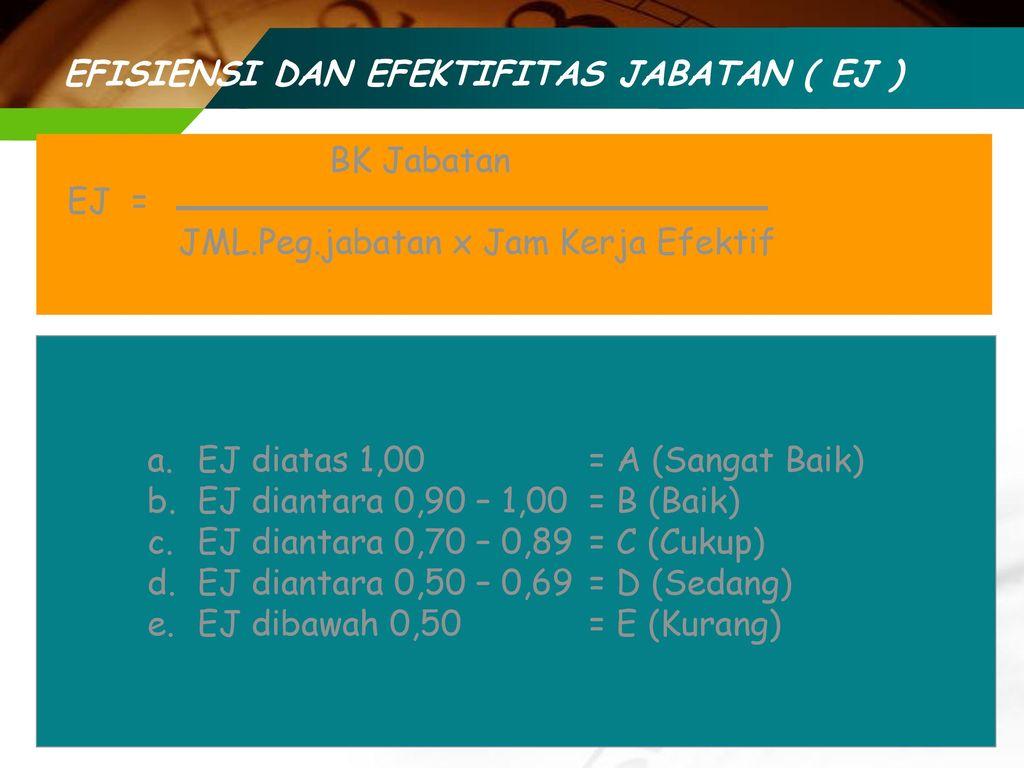 EFISIENSI DAN EFEKTIFITAS JABATAN ( EJ )