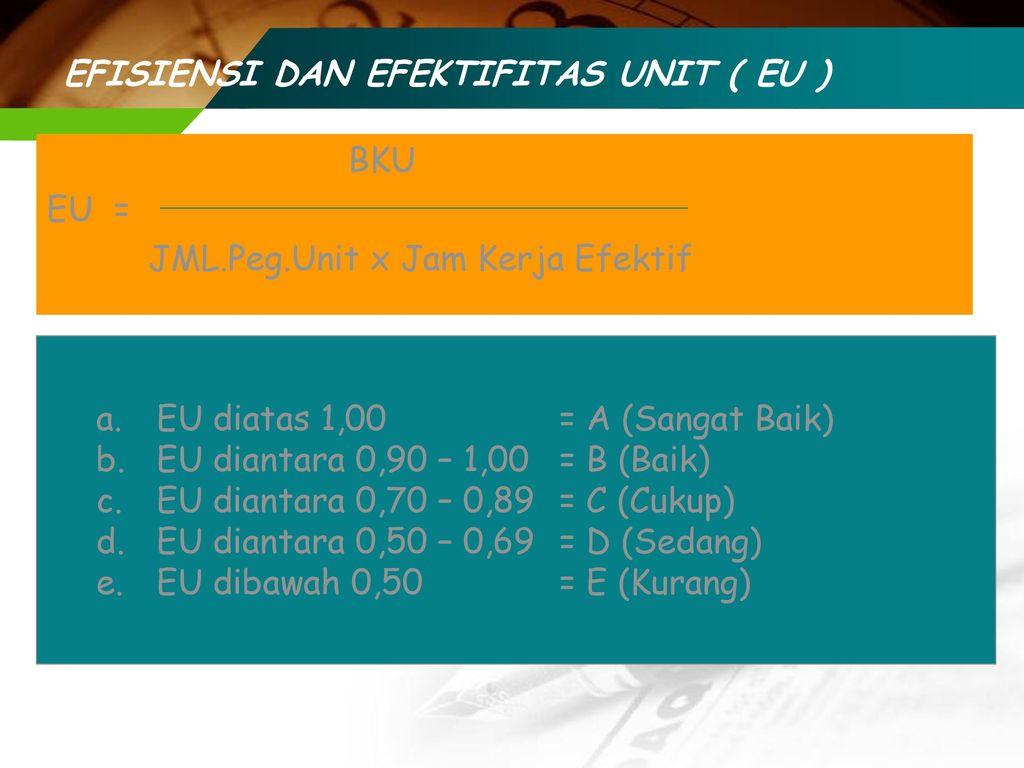 EFISIENSI DAN EFEKTIFITAS UNIT ( EU )