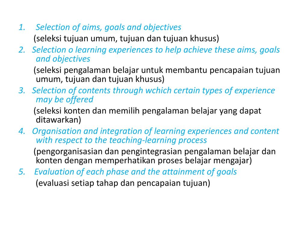 aims and objectives of the selection process