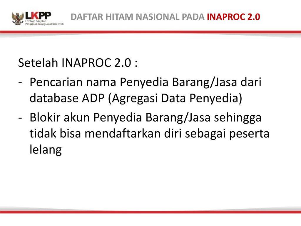 DAFTAR HITAM NASIONAL PADA INAPROC 2.0