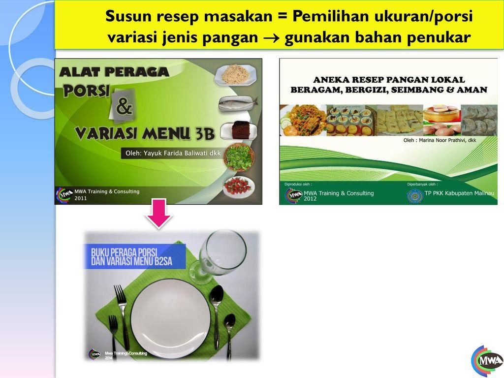 Susun resep masakan = Pemilihan ukuran/porsi variasi jenis pangan  gunakan bahan penukar